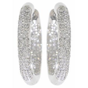 Inside Outside Cluster Diamond Earrings White Gold